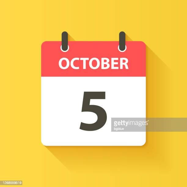 october 5 - daily calendar icon in flat design style - deadline stock illustrations
