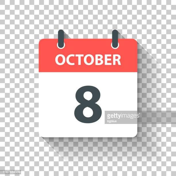 illustrations, cliparts, dessins animés et icônes de 8 octobre - icône de calendrier quotidien dans le modèle plat - octobre