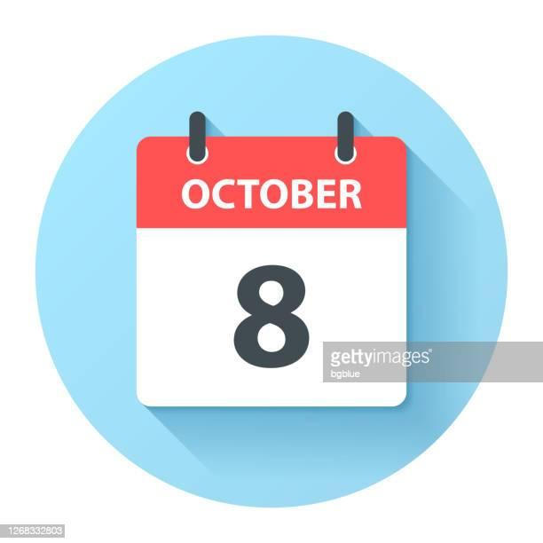 illustrations, cliparts, dessins animés et icônes de 8 octobre - icône du calendrier quotidien rond dans un style design plat - octobre