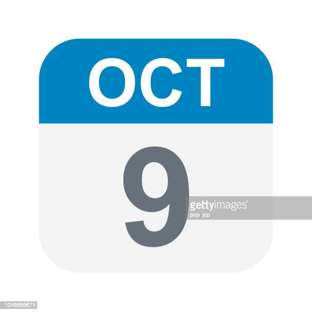 october 9 - calendar icon - number 9 stock illustrations