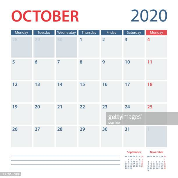 2020 october calendar planner vector template. week starts monday - october stock illustrations
