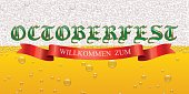Octoberfest gothic sign and red ribbon with Willkommen Zum text on beer background. Vector Octoberfest sign template.