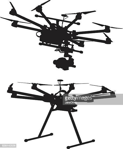 ilustraciones, imágenes clip art, dibujos animados e iconos de stock de octocopter silhouettes - drone