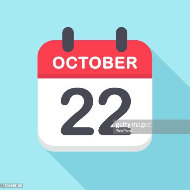 octoer 22 - calendar icon- new year - この撮影のクリップをもっと見る 2025 stock illustrations