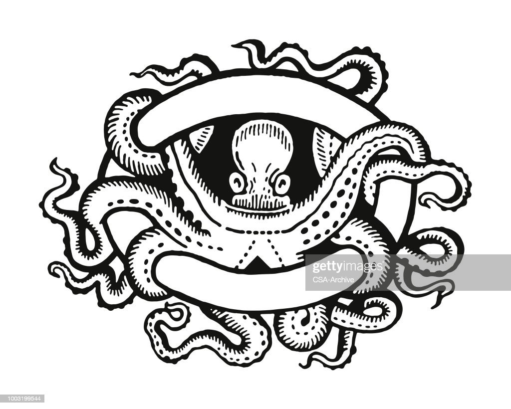 Octopus Entwined in a Banner : stock illustration