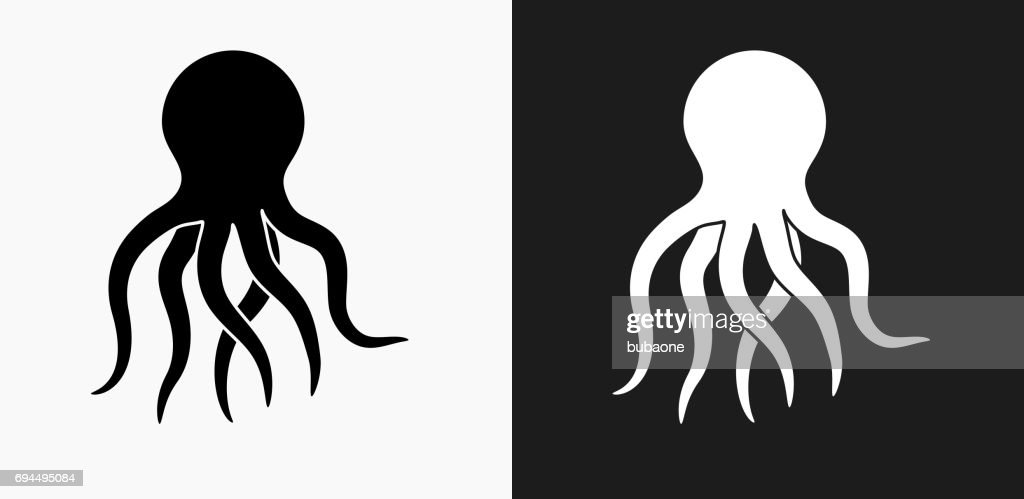 Octopus Icon on Black and White Vector Backgrounds : stock illustration