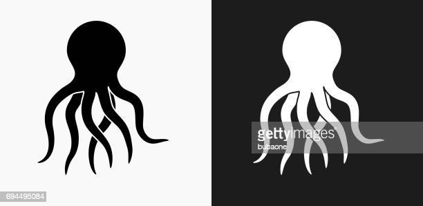 Octopus Icon on Black and White Vector Backgrounds