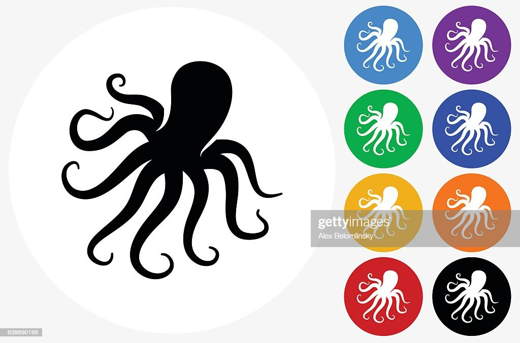 Octopus Icon on Flat Color Circle Buttons : stock illustration
