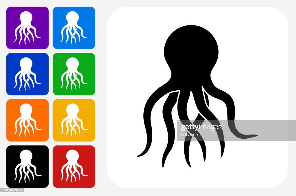 Octopus Icon Square Button Set : stock illustration