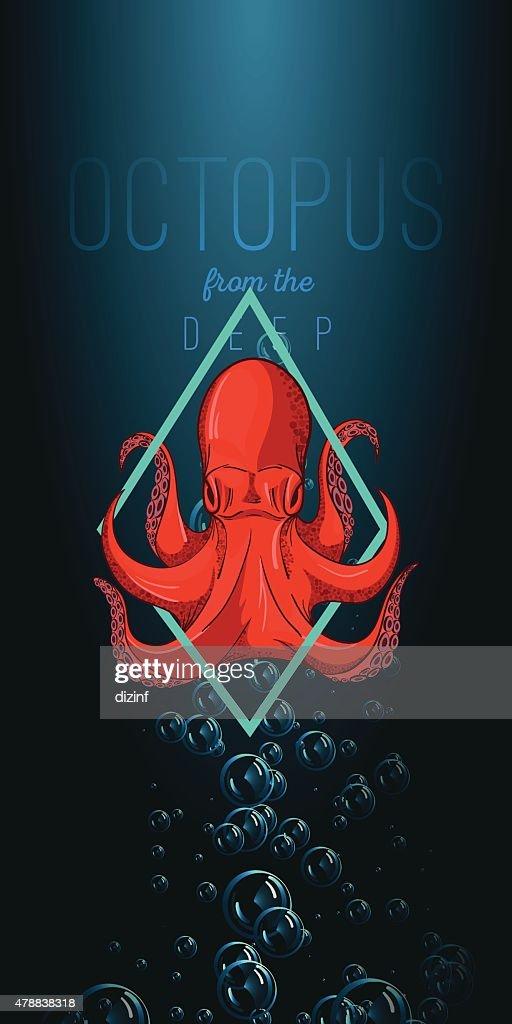 Octopus in deep. Vector color illustration