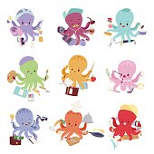 Octopus mollusk ocean coral reef animal character different pose like human and cartoon funny, graphic marine life underwater tentacle vector illustration