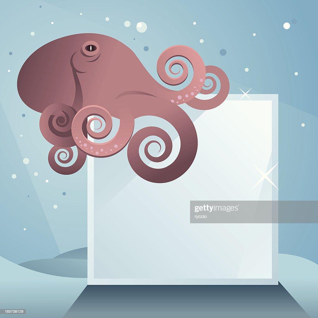 Octopus on glass block : stock illustration