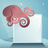 Octopus on glass block