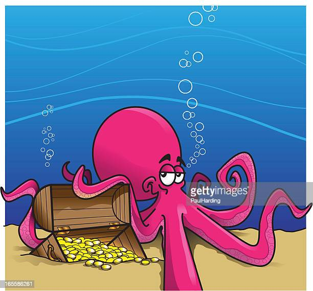 Octopus protecting treasure chest