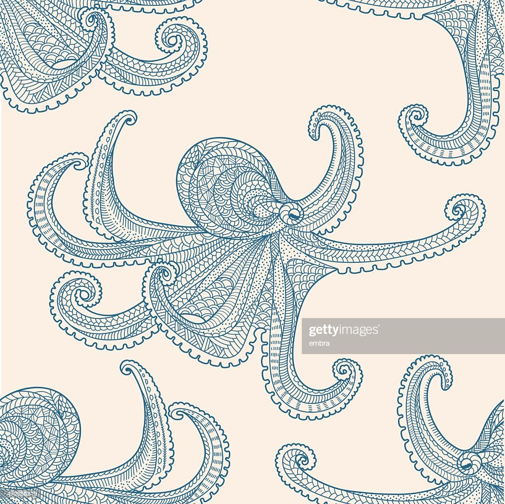 Octopus seamless pattern