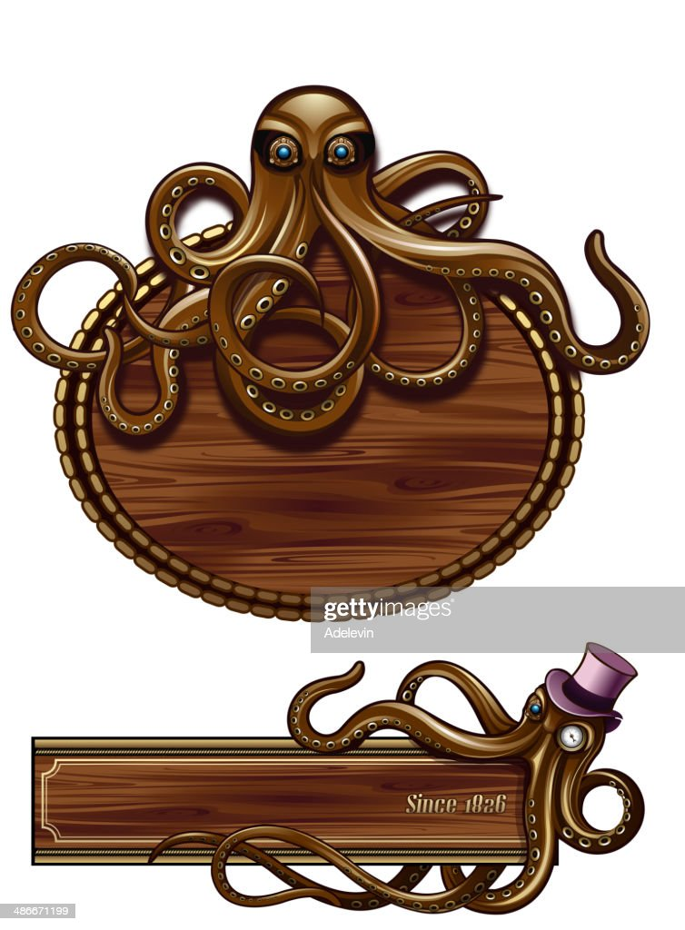 Octopus Steampunk emblem : stock illustration