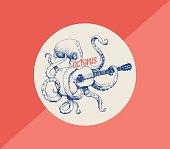 Octopus. Vector illustration of octopus playing guitar, hand drawn, vintage illustration
