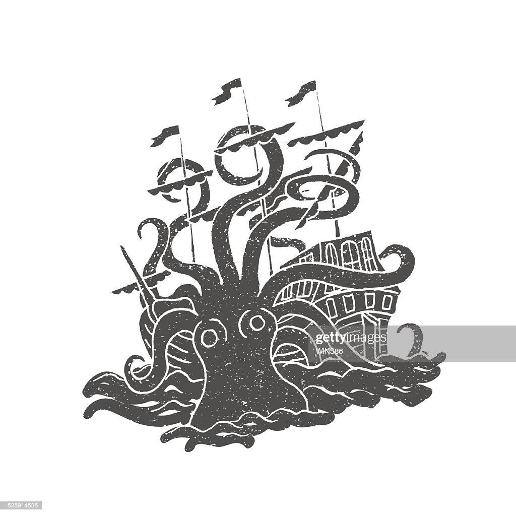 Pulpo con barco. Vintage. Sello de caucho. : Arte vectorial