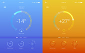 UI of mobile app page of weather. Summer and Winter layout for mobile apps. Page of different weather user interface, 3D illustration. GUI design for responsive website or applications