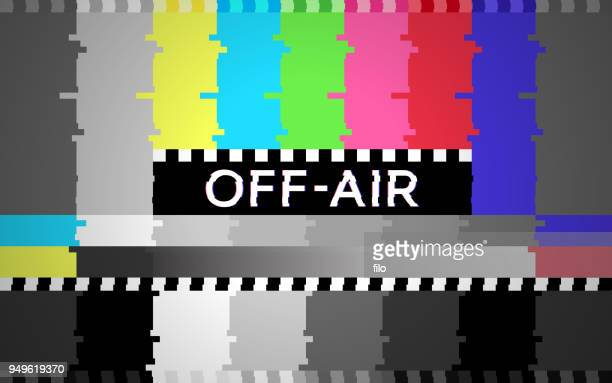 off air technical glitch test pattern background - television industry stock illustrations