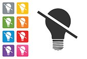 Off Bulb Icon Flat on coloured button - design elements