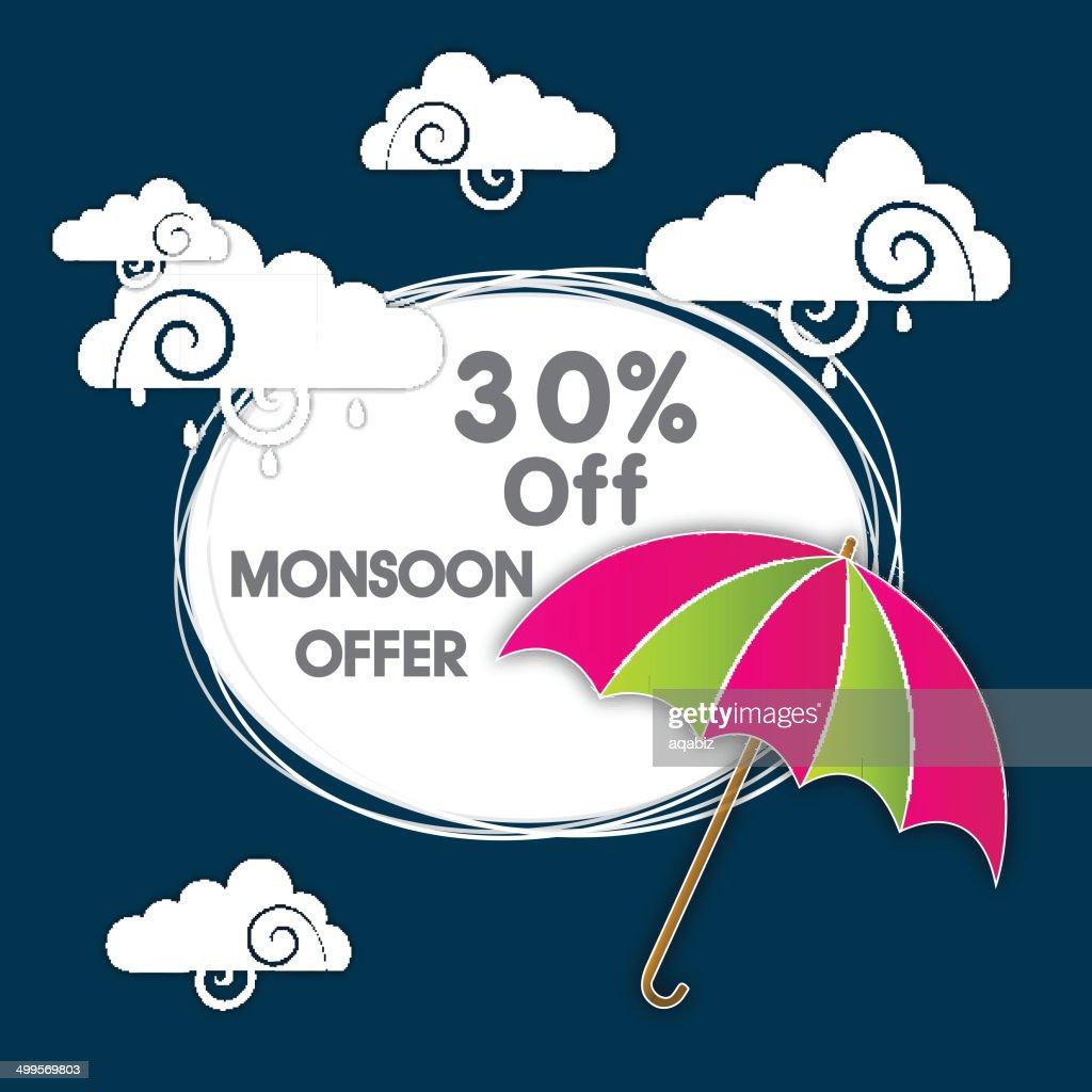 30% Off, Monsoon Offer sticky design.