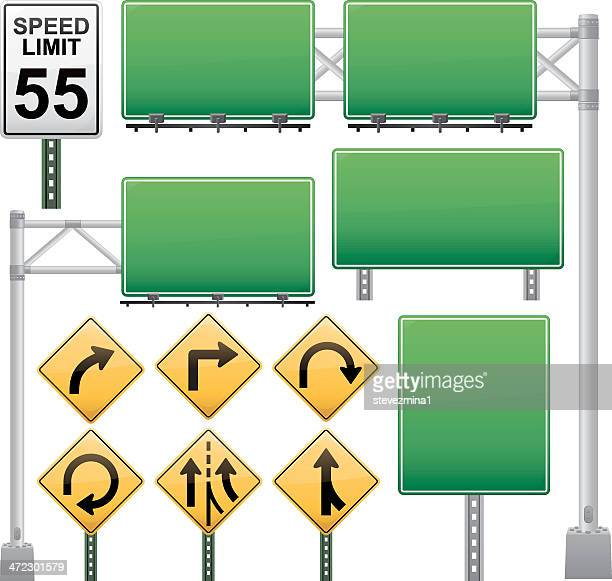 off ramp road sign collection - overpass road stock illustrations