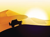 Off road car and desert dunes sunset landscape.