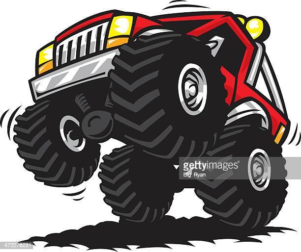 ilustraciones, imágenes clip art, dibujos animados e iconos de stock de de camión de carretera - monstertruck