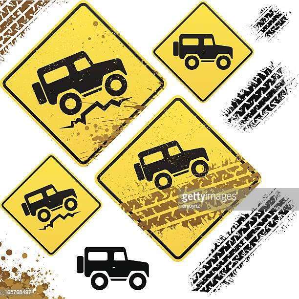 off road signs - 4x4 stock illustrations, clip art, cartoons, & icons