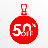 50% off sale. Christmas and New year ball with price off or discount tag design template. Vector illustration.