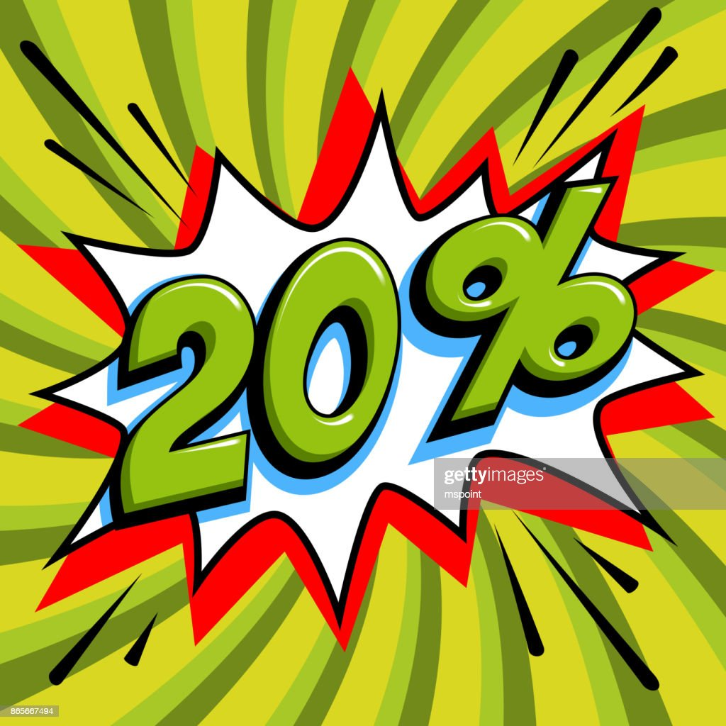 20 off. Twenty percent 20 off sale on green pop art background. Comics pop-art style bang shape. Seasonal sale banner. falling prices discounts