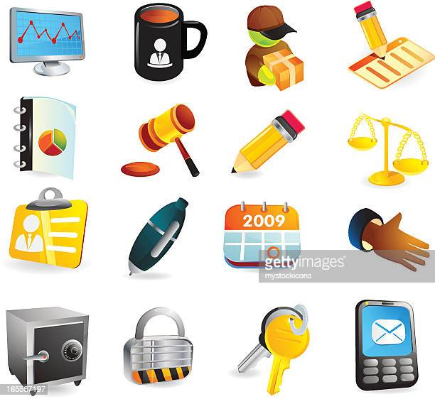 offce business & finance web icons - fiscal year stock illustrations