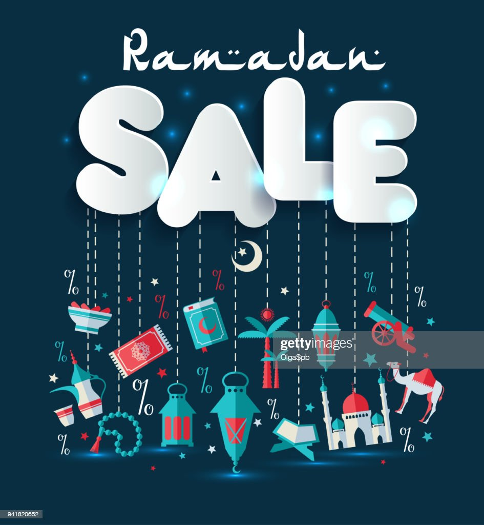 Offer and discount sale tags for the festival of Eid Mubarak and Ramadan.
