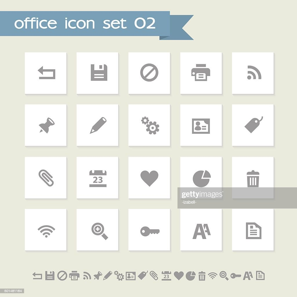 Office 2 icon set. Simple flat buttons