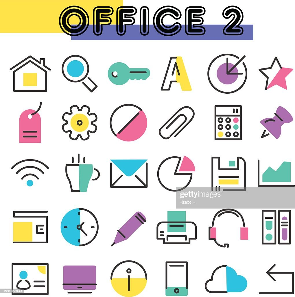 Office 2 linear icons collection