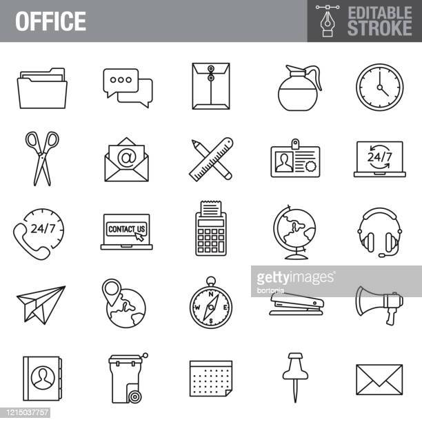office and business editable stroke icon set - new hire stock illustrations