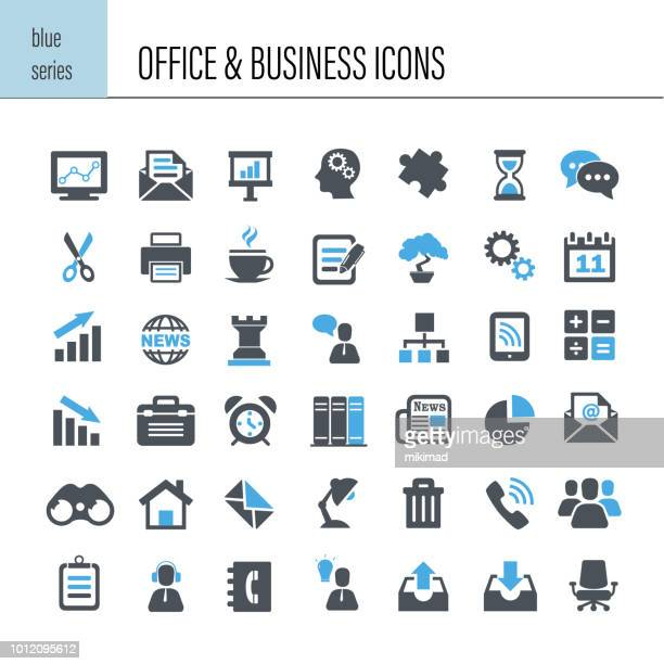 illustrazioni stock, clip art, cartoni animati e icone di tendenza di office and business icon set - business