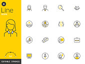 Office and Business line icons collection, editable strokes. For mobile concepts and web apps. Vector illustration, clean flat design