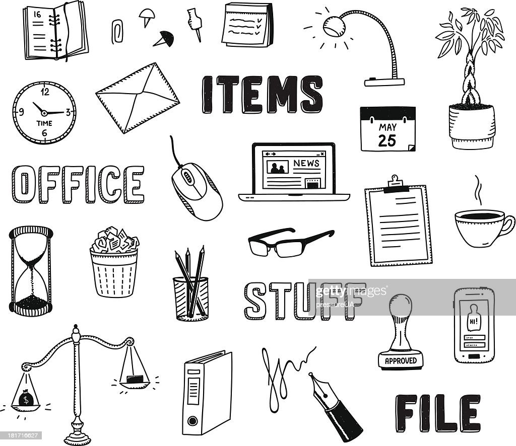 Office and business objects doodles set