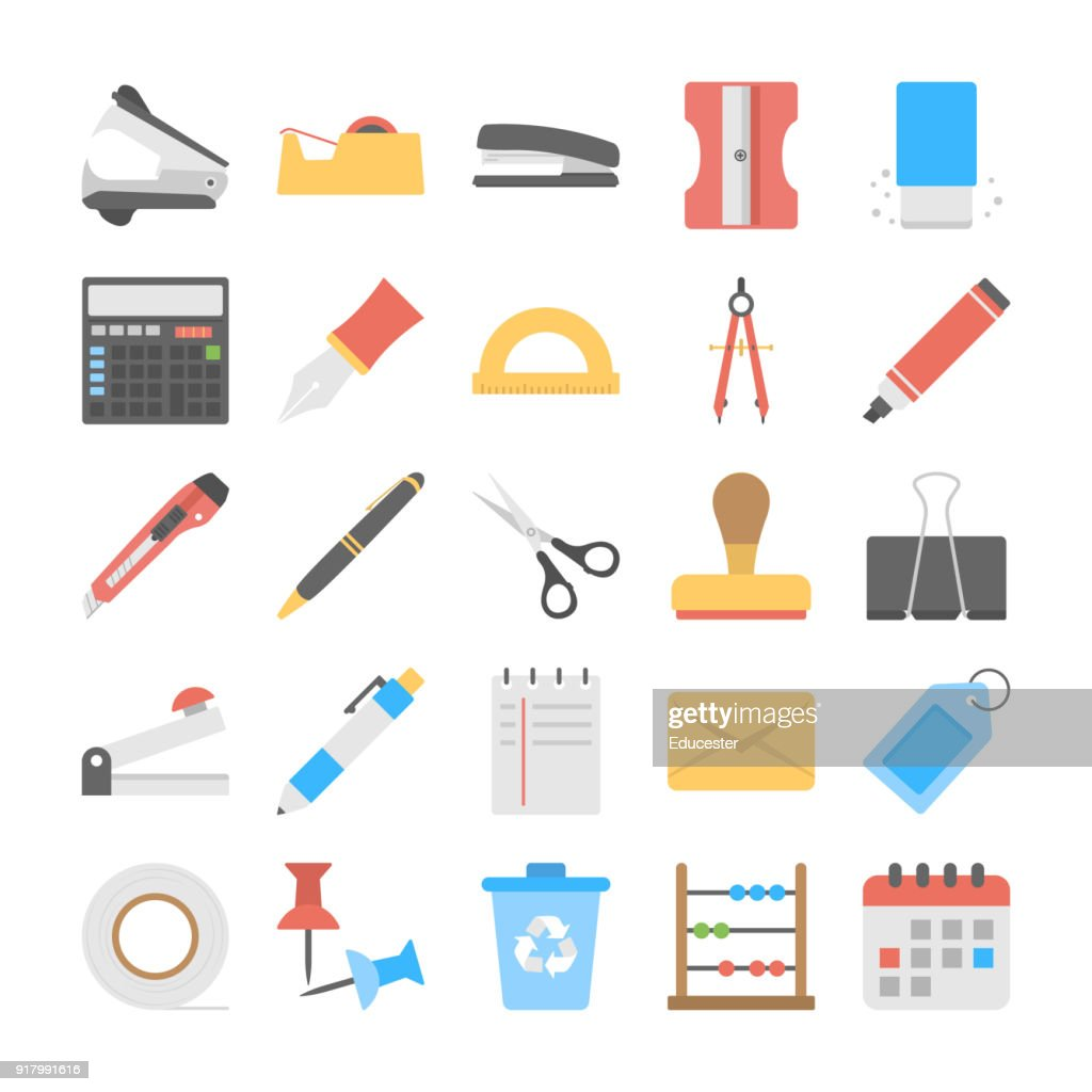 Office and Stationery Flat Vector Icons Set