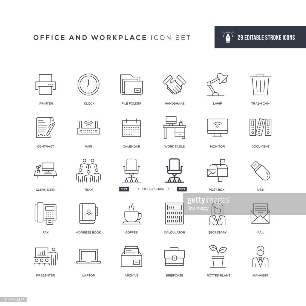Icone della linea di tratti modificabili di Office e luogo di lavoro : Illustrazione stock