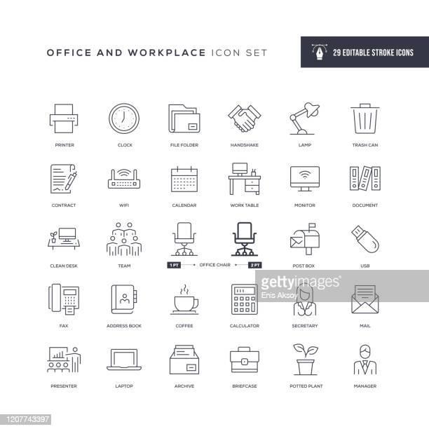 stockillustraties, clipart, cartoons en iconen met pictogrammen voor werk- en werkplekbewerkbare lijn - kantoor