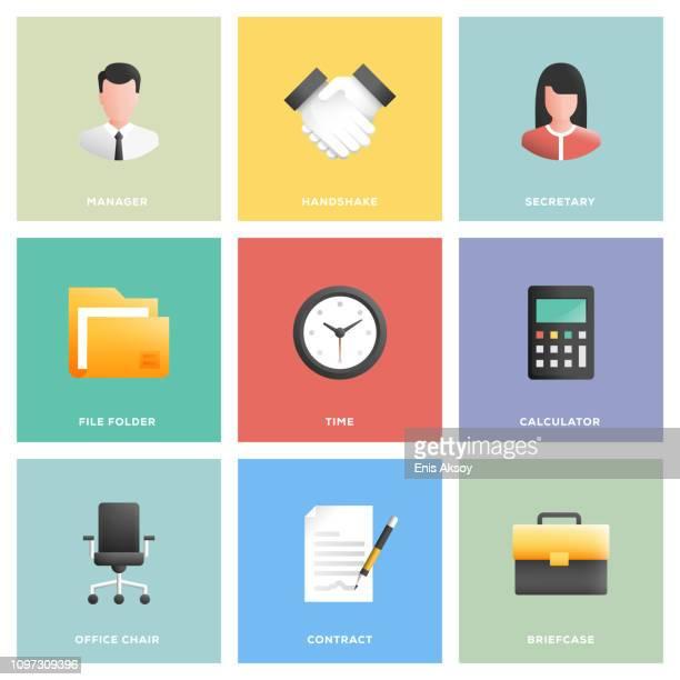 オフィスや職場のアイコンを設定 - リング式ファイル点のイラスト素材/クリップアート素材/マンガ素材/アイコン素材