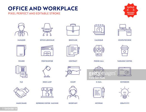 office and workplace icon set with editable stroke and pixel perfect. - office stock illustrations