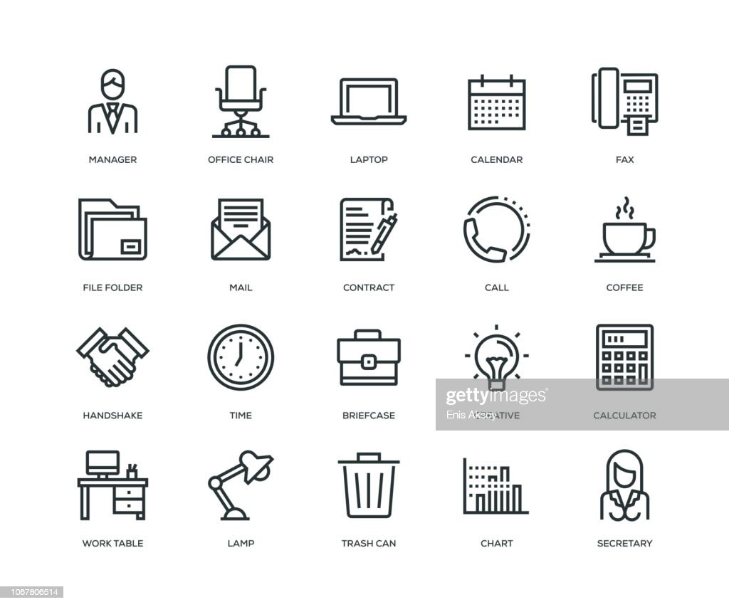 Office and Workplace Icons - Line Series : stock illustration