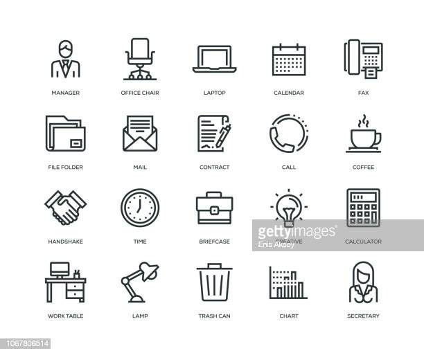 illustrazioni stock, clip art, cartoni animati e icone di tendenza di office and workplace icons - line series - semplicità