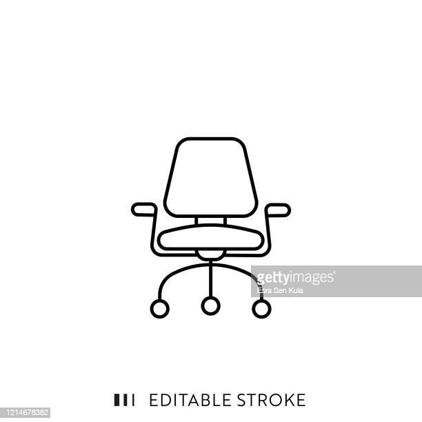 illustrations, cliparts, dessins animés et icônes de office armchair line icon avec course modifiable et pixel perfect. - chaise de bureau
