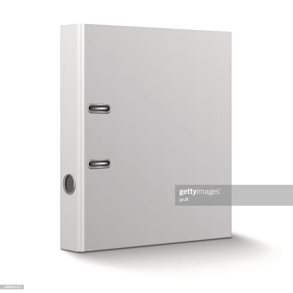 Office binder standing on white background.