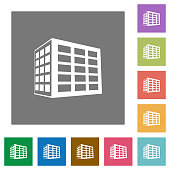 Office block square flat icons